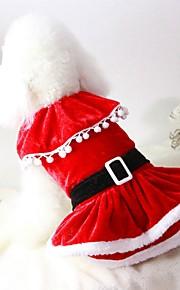 Kat Hond kostuums Jassen Jurken Kerstmis Hondenkleding Effen Rood Pluche stof Katoen/linnen mengeling Kostuum Voor huisdieren Feest
