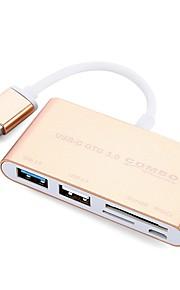 5 Ports USB Hub USB 2.0 USB 3.0 Micro USB 2.0 With Card Reader(s) Ultra Slim OTG Data Hub
