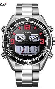 SINOBI Homens Relógio Esportivo Relógio Casual Relógio de Pulso Japanês Digital LED Calendário Dois Fusos Horários Noctilucente