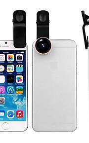 zomei 15mm grampo universal 3-em-1 no kit de lente da câmera do telefone celular lentes de olho de peixe / lente macro de 2 em