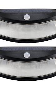 2pcs solenergi lys bevegelsesdeteksjon 8 ledet vanntett utendørs smilende vegg lys trådløst sikkerhet trinn natt lamper-svart