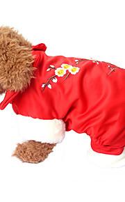 Cane Tuta Abbigliamento per cani Casual Floral/botanico Giallo Rosso