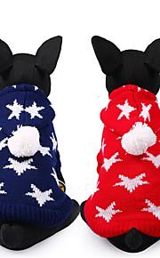 Hond Truien Hondenkleding Sterren Rood Blauw Chinlon Kostuum Voor huisdieren Casual/Dagelijks