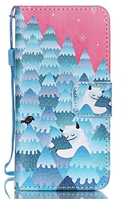 Case For Apple Ipod Touch5 / 6 Case Cover Card Holder Wallet with Stand Flip Pattern Full Body Case  Snow Mountain Hard PU Leather