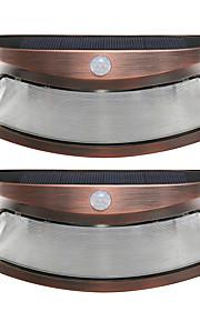 2pcs solenergi lys bevegelsesdeteksjon 8 ledet vanntett utendørs smilende vegg lys trådløst sikkerhet trinn natt lamper-kobber