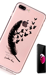 Custodia Per Apple iPhone X iPhone 8 Plus Transparente Fantasia/disegno Custodia posteriore Piume Morbido TPU per iPhone X iPhone 8 Plus