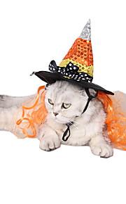 חתול כלב כובעים ובנדנות בגדים לכלבים סיבים אקריליים חורף קיץ/אביב חג ליל כל הקדושים פאייטים כתום תחפושות עבור חיות מחמד