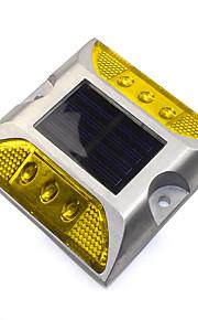1pcs aluminium solcelle 6-ledet utendørs vei oppkjørselen bakken bakken lys lampe gul