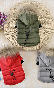 חתול כלב קפוצ'ונים בגדים לכלבים כותנה קיץ/אביב חורף חדש יום יומי\קז'ואל Keep Warm חג מולד מוצק אפור אדום ירוק עבור חיות מחמד