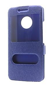 Etui Til Motorola G5 Plus G5 Pung Med stativ Med vindue Flip Heldækkende Helfarve Hårdt Kunstlæder for Moto G5 Plus Moto G5 Moto E4 Moto
