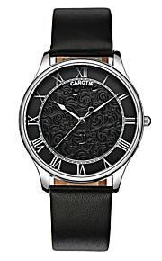 Men's Women's Casual Watch Fashion Watch Quartz Chronograph Leather Band Casual Elegant Halloween Christmas Black
