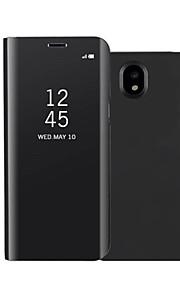 ケース 用途 Samsung Galaxy J7(2017) J5(2017) スタンド付き ミラー フリップ オートスリープ/ウェイクアップ フルボディー 純色 ハード PUレザー のために On7(2016) On5(2016) J7 Prime J7 (2017)