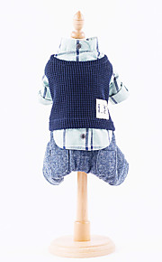 Dog Jumpsuit Dog Clothes Casual/Daily Plaid/Check Pink Blue Costume For Pets