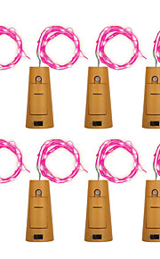 Brelong 8pcs 8led vinflaske kopper streng lys til julen Halloween bryllup fest dekorasjoner