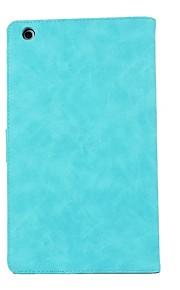 caso para huawei m3 8.0 cpn-w09 / al00 titular de la tarjeta de reposo automático / despertar todo el cuerpo de color sólido de cuero de