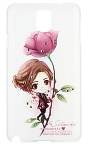 מגן עבור Samsung Galaxy ריינסטון תבנית כיסוי אחורי סקסי ליידי פרח אנימציה קשיח PC ל Note 4 Note 3
