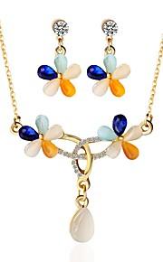 Dame Stangøreringe Halskæde Klassisk Mode Elegant Ceremoni Formel Opal Legering Blomst 1 Halskæde Øreringe