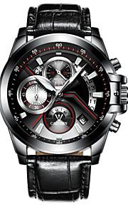 CADISEN Homens Quartzo Relógio de Pulso Chinês Calendário Impermeável Noctilucente Cronômetro Couro Legitimo Banda Fashion Legal Preta
