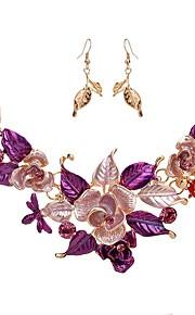 Dame Dråbeøreringe Halskæde Rhinsten Klassisk Mode Forlovelse Ceremoni Simuleret diamant Legering Blomst 1 Halskæde Øreringe