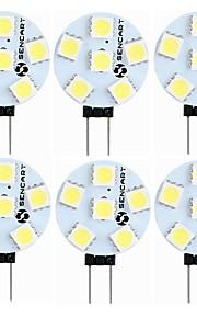 SENCART 6pcs 1.5 W 60-80 lm G4 LED-lamper med G-sokkel T 6 leds SMD 5050 Dekorativ Varm hvit Hvit 12V
