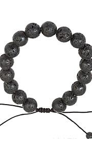 Męskie Damskie Bransoletki i łańcuszki na rękę Kamień wulkaniczny Prosty Natura Modny Sznur Kamień Circle Shape Biżuteria Prezent