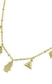 Dame Rhinsten Kort halskæde - Simple Afslappet Slange Geometrisk form Blomst Hamsa-hånd Guld 52cm Halskæder Til Fest / aften Skole