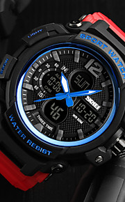 SKMEI Homens Casal Digital Relógio Militar Japanês Calendário Impermeável Relógio Casual Noctilucente Cronômetro PU Banda Luxo Casual