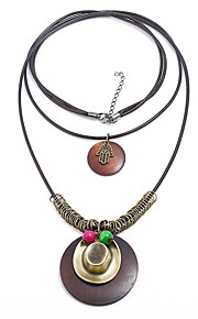 Damskie Circle Shape Kształt Vintage Wyrazista biżuteria Modny Warstwy Naszyjniki , Drewniany Sznur Stop Warstwy Naszyjniki Ulica Randka