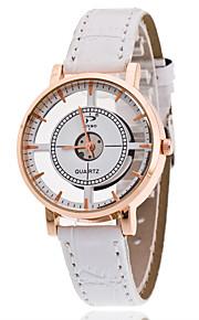 Mulheres Chinês Quartzo Relógio Casual Couro Banda Fashion Preta Branco Marrom