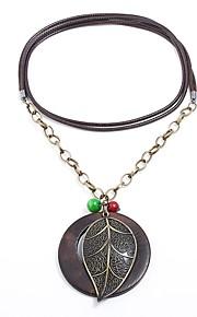 Damskie Circle Shape Leaf Shape Kształt Natura Steampunk Modny Naszyjniki z wisiorkami , Drewniany Sznur Stop Naszyjniki z wisiorkami