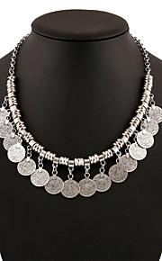 Dame Overdimensionerede Kædehalskæde - Vintage Overdimensionerede Mode Cirkelformet Sølv 45cm Halskæder Til Fest / aften Ferie