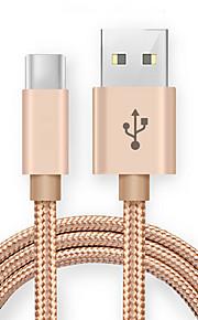 Typ-C USB-Kabeladapter Schnelle Aufladung Kabel Für Samsung Huawei Lenovo Xiaomi HTC 100cm Nylon