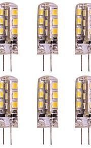 WeiXuan 6pcs 2W 160lm lm G4 LED-lamper med G-sokkel T 24pcs leds SMD 2835 Varm hvit Kjølig hvit DC 12V