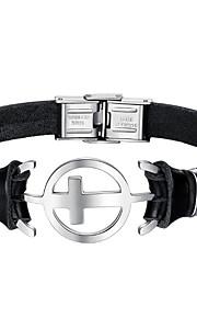 Herre Læder Armbånd Mode Rustfrit Stål Læder Sort Kors Smykker Daglig Kostume smykker