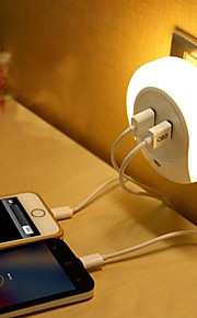 LED Night Light Varm hvit Smart Dobbel USB Mobil lader Lysstyring 110-120V 220V-240V