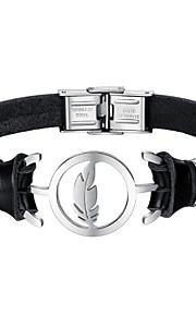 Herre Læder Armbånd Mode Rustfrit Stål Læder Sort Fjer Smykker Daglig Kostume smykker