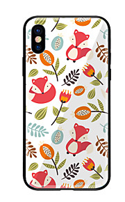 Case For Apple iPhone X iPhone 8 Pattern Back Cover Flower Animal Hard Tempered Glass for iPhone X iPhone 8 Plus iPhone 8 iPhone 7 iPhone