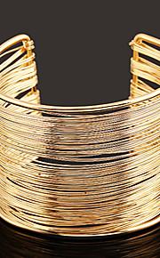 Damskie Warstwy materiały Bransoletki cuff / Szeroki Bangle - Prosty, Europejski, Modny Bransoletki Gold / Silver Na Codzienny