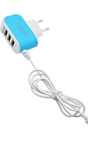 Portable Charger USB Charger EU Plug with Cable / Multi-Output 3 USB Ports 3.1 A 100~240 V