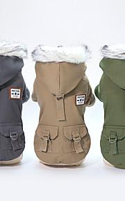 Psy Płaszcz Ubrania dla psów Solidne kolory / Klasyczny / Vintage Szary / Khaki / Ciemnozielony Bawełna Kostium Dla zwierząt domowych Mężczyzna Zatrzymujący ciepło / Minimalistyczny