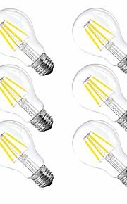 6pcs 4 W 120 lm E26 / E27 LED-gloeilampen A60 (A19) 4 LED-kralen Krachtige LED Dimbaar Warm wit 110-130 V