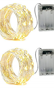 2m Φώτα σε Κορδόνι 20 LEDs SMD 0603 Θερμό Λευκό / Άσπρο / Κόκκινο Αδιάβροχη / Πάρτι / Διακοσμητικό Μπαταρίες AA Powered 2pcs