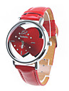 Dames Vrijetijdshorloge Kwarts Band Cartoon Heart Shape Rood Rood