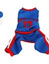 Chien Costume Combinaison-pantalon Maillot Bleu Blanc Vêtements pour Chien Hiver Printemps/Automne Lettre et chiffre Cosplay Sportif