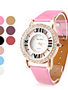 크리스탈과 여성의 빈 PU 가죽 아날로그 석영 손목 시계 (여러 색)