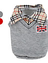 Dog Shirt / T-Shirt Red Gray Dog Clothes Winter Spring/Fall British Classic