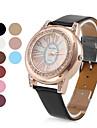 ouro das mulheres estilo pu couro analógico relógio de pulso de quartzo (cores sortidas)