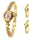 Mulheres Bracele Relógio Quartzo Banda Elegantes Dourada Dourado Rosa claro