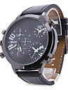 Men's PU Analog Mechanical Wrist Watch (3 Movements, Black)