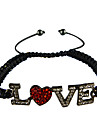 """argenté """"amour"""" bracelet zircon tissu"""